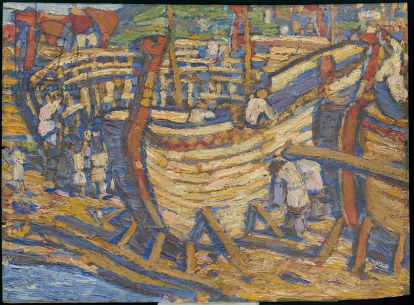 Building the Ships. Sketch for the painting of the same title, 1903 (oil on panel)