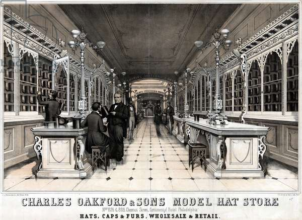 Charles Oakford & Sons model hat store nos 826 & 828, Chestnut Street, Continental Hotel. Philadelphia, printed by P.S. Duval & Son, c.1860 (litho)