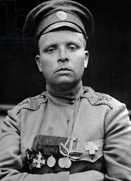 Maria Bochkareva, the commander of Women's Death Battalion, 1st February, 1917 (b/w photo)