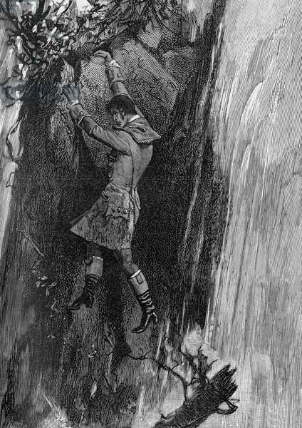 The new world, the discovery of the Americas: 'Chateaubriand' hanging clinging to a rock above the Niagara.