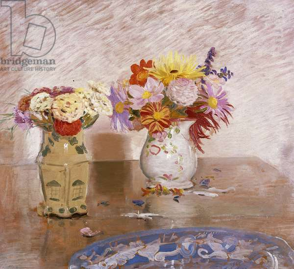 Two Vases of Flowers and a Blue Plate, 1925 (oil on panel)