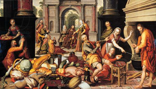 Christ in the house of Martha and Mary, 1550 (oil on panel)