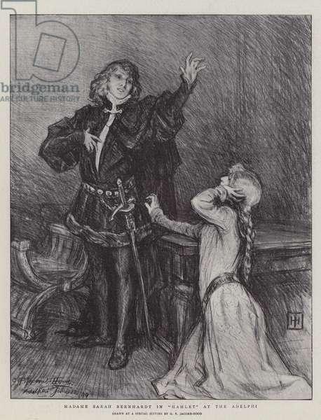 "Madame Sarah Bernhardt in ""Hamlet"" at the Adelphi (litho)"