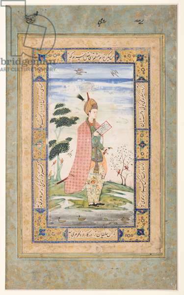 Persian courtier, Deccan, Bijapur, c.1615 (opaque w/c, gold & ink on paper)