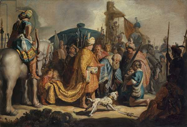 David with the Head of Goliath before Saul, 1627 (oil on wood)