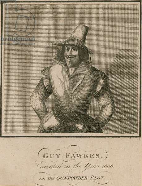 Guy Fawkes, executed in the year 1606 for the Gunpowder Plot (engraving)