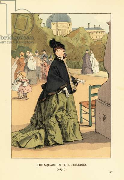 The Square of the Tuileries, 1870. Woman in green dress with train, mantelet lined with fur, black hat. Families and children play behind her. Place du Carrousel with the Palais des Tuileries in the background. Handcoloured lithograph by R.V. after an illustration by Francois Courboin from Octave Uzanne's Fashion in Paris, William Heinemann, London, 1898.