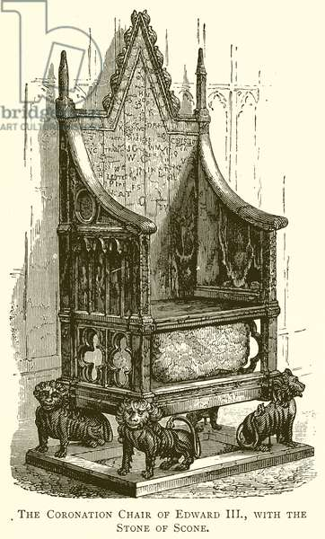 The Coronation Chair of Edward III., with the Stone of Scone (engraving)