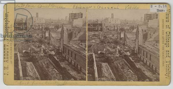 The view east from the courthouse after Chicago Fire of 1871 (b/w photo)