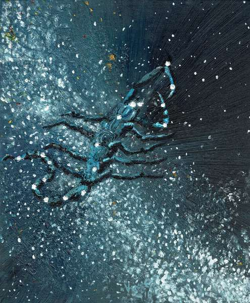 Star sign Scorpio, 2016 (oil on canvas board)