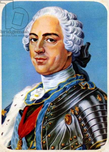 History. France. The king Louis XV of France. Imagery, France, c.1950 (print)
