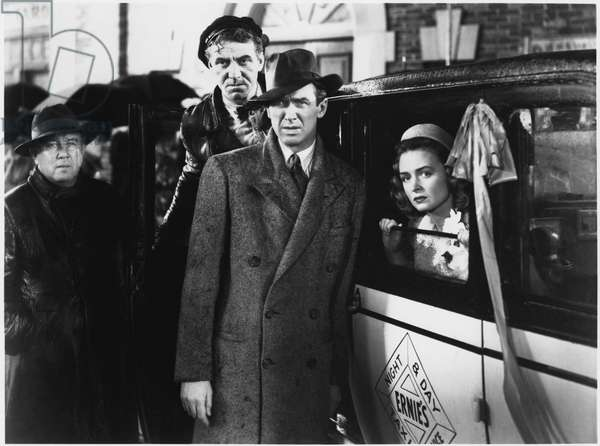 """Frank Faylen, James Stewart, Donna Reed, on-set of the Film, """"It's a Wonderful Life"""", 1946 (b/w photo)"""