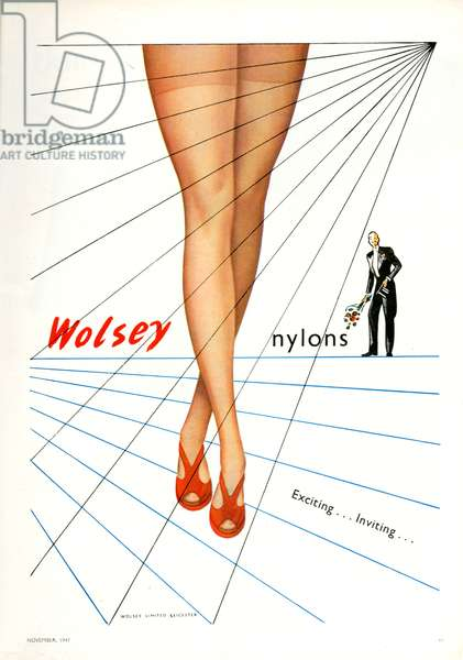 Magazine advert for Wolsey, 1947 (colour litho)