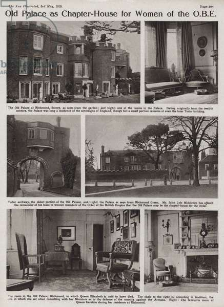Gate House of Richmond Palace, London, offered as a chapter house for women members of the Order of the British Empire (b/w photo)