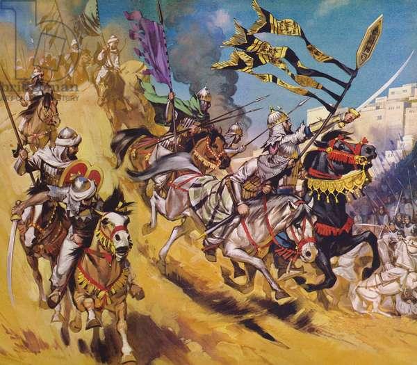 Saladin and his Saracens (colour litho)