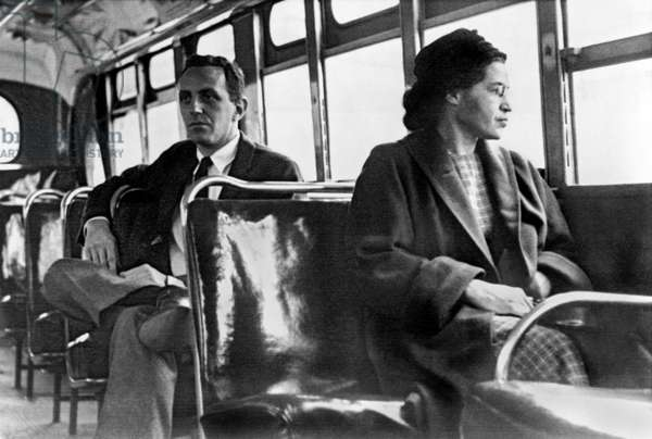 Rosa Parks in a bus in Montgomery Alabama 1956 (b/w photo)