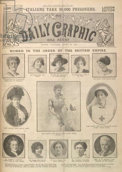 The front page of a newspaper with the headlines: 'Italians take 20,000 prisoners', and, 'Women in the order of the British Empire'. Portraits of women appointed to the new order of the British Empire.