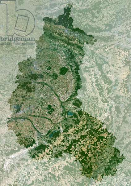 Champagne-Ardenne Region, France, True Colour Satellite Image With Mask