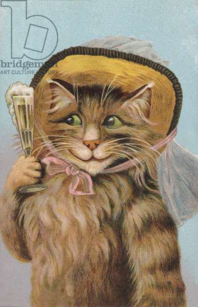 Cat wearing a hat and holding a glass of Champagne (chromolitho)