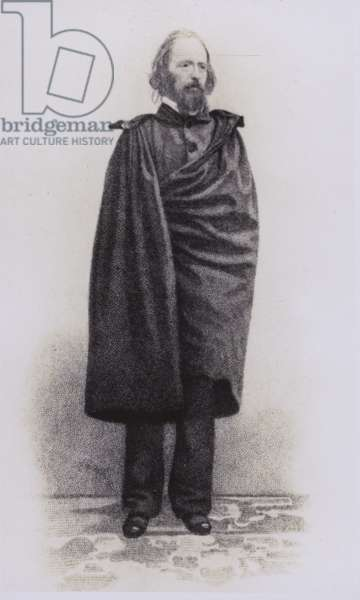 Alfred, Lord Tennyson, English poet (litho)