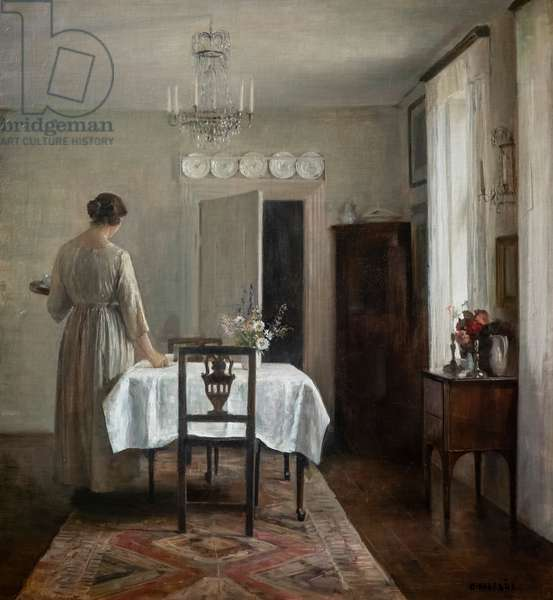 The artist's wife setting the table, 1884-88 (oil on canvas)