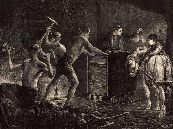 South Durham miners or pit-men at work at coal face