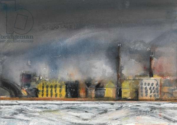 Factories across the Neva (w/c on paper)