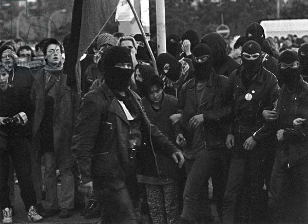 Demonstration of the Autonomists for Reunification, the Autonomous Block at Alexanderplatz, Berlin-Kreuzberg, 3rd October 1990 (bw/w photo)
