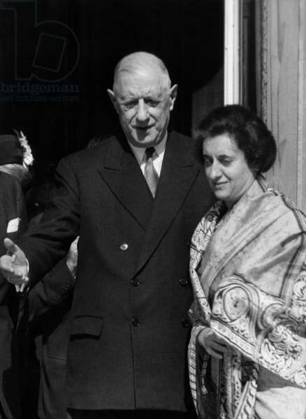 Indira Gandhi (India Prime Minister) and the French President Charles De Gaulle, at The Elysee Palace in Paris, March 25, 1966 (b/w photo)