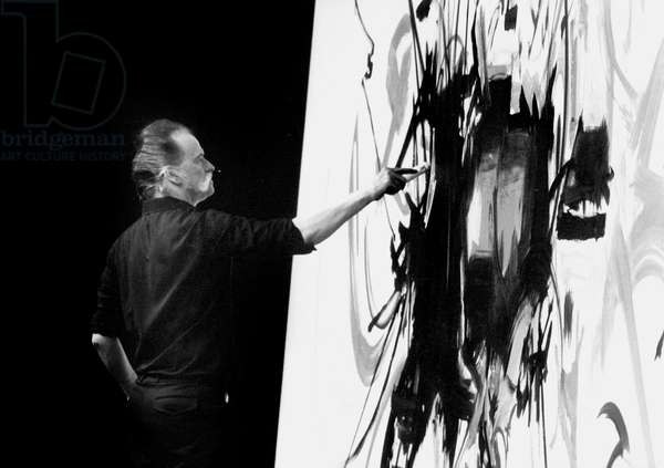 Georges Mathieu Painting in Front of Tvcamera in Paris Novemner 9, 1978 (b/w photo)