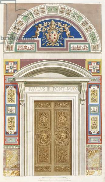 Doorway to the Raphael Loggia at the Vatican, 1772 (hand coloured engraving)
