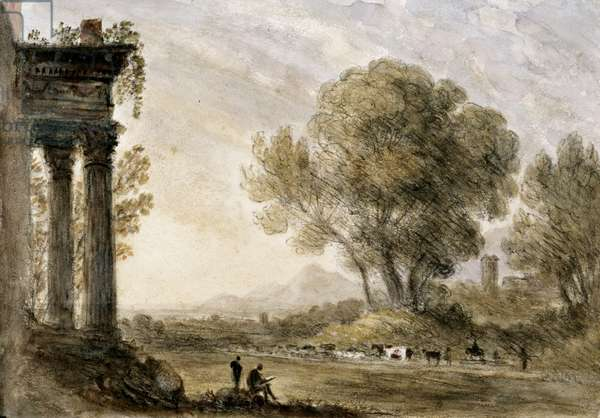 ''Landscape in the style of Claude'  by William Crotch, 1838.