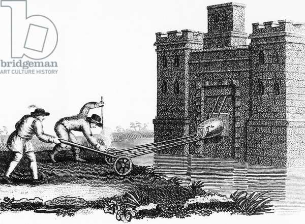 Method of fixing a petard (explosive device) to a fortress gateway when protected by a moat. Stipple engraving c1800.
