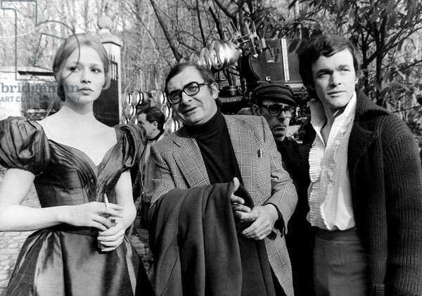 French Director Claude Chabrol Directing Actors Catherine Jourdan and Yves Lefevre on Set of Tv Movies March 1St, 1973 (b/w photo)