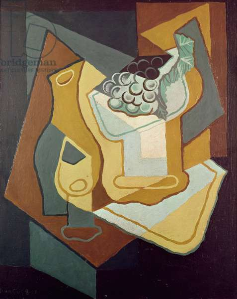 Bottle, Glass and Fruit Dish, 1921 (oil on canvas)