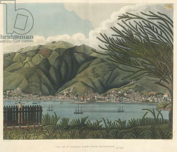 View of St. Thomas, taken from Havensicht, Jan. 18, lithograph by Joseph Constantine Stadler (fl.1780-1812), 1810 (colour litho)