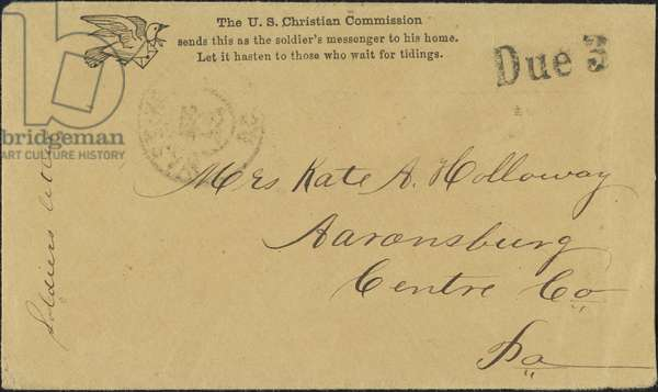 CIVIL WAR LETTER, c.1862 American Civil War soldier's letter sponsored by the U.S. Christian Commission, c.1862.