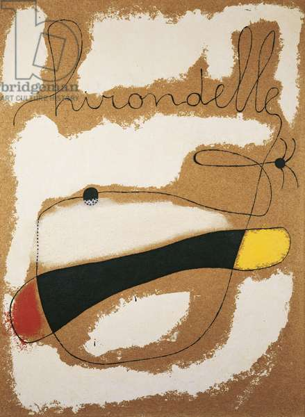 Painting (Hirondelle), by Joan Mirò, 1937, 20th Century, oil on celotex, 121 x 91 cm