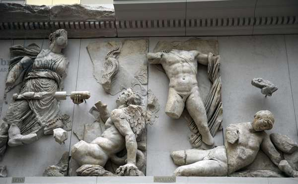 Pergamon Altar. Leto and Apollo fighting against Tityos and Ephialtes.