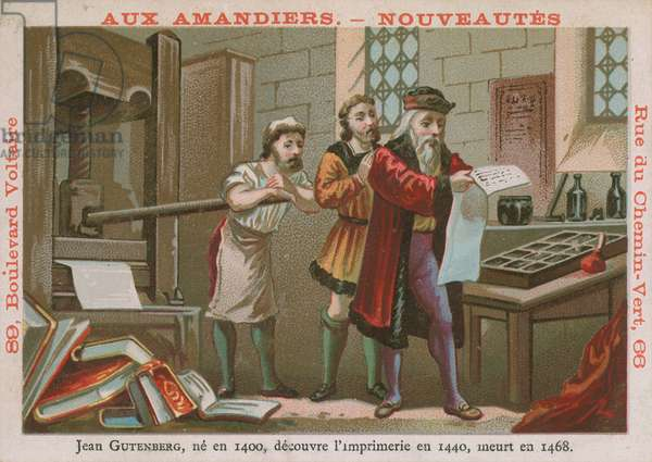 Johannes Gutenberg, 15th Century German inventor and printer (chromolitho)