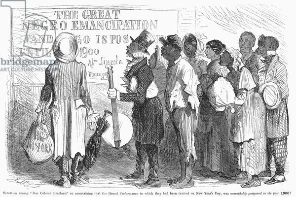 EMANCIPATION PROCLAMATION Cartoon from an American newspaper of December 1862, showing disappointment with the limitations inherent in President Lincoln's Emancipation Proclamation.
