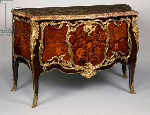 Louis XV style Second Empire (Napoleon III) commode with inlaid tulipwood, amaranth and rosewood depicting flowers, France, 19th century