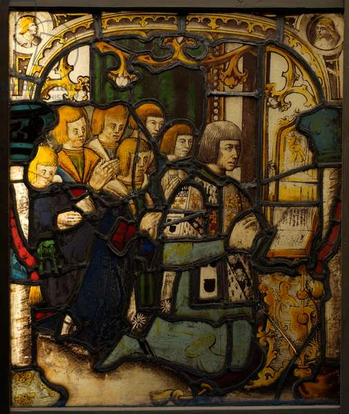 Stained glass panel from Compton Verney showing Sir Richard Verney and his sons (stained glass)