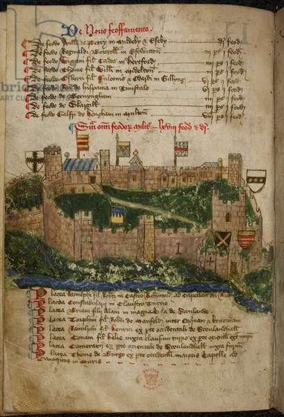 Cotton Faustina B. VII, f.85v Richmond Castle, 1480 (vellum)