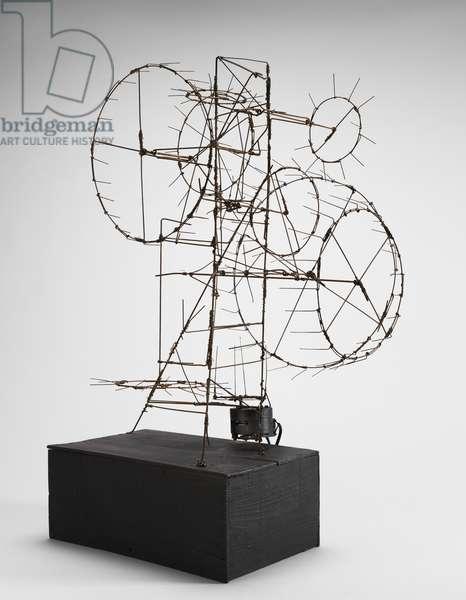 Prayer Wheel, 1954 (steel wire, wood base & electric motor)