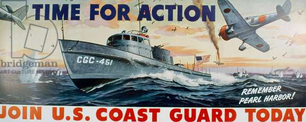 Time for Action: Remember Pearl Harbor. Join U.S. Coast Guard Today Artist Unknown Poster (World War II)