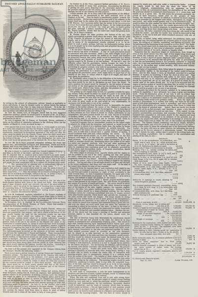 Proposed Anglo-Gallic Submarine Railway (engraving)