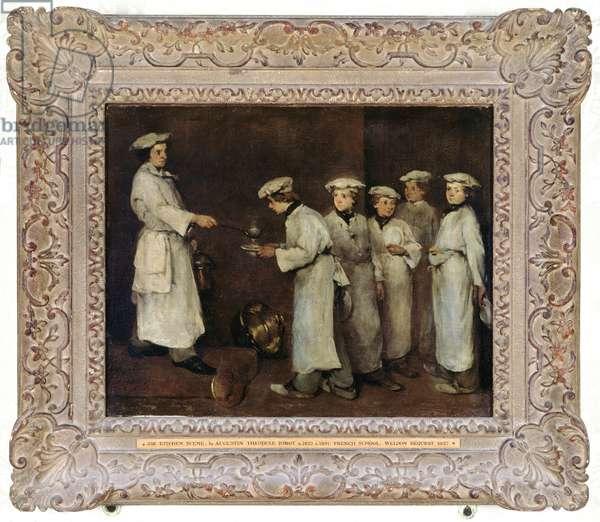Kitchen Scene (oil on panel)