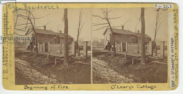 Mrs O'Leary's Cottage, 1871 (b/w photo)