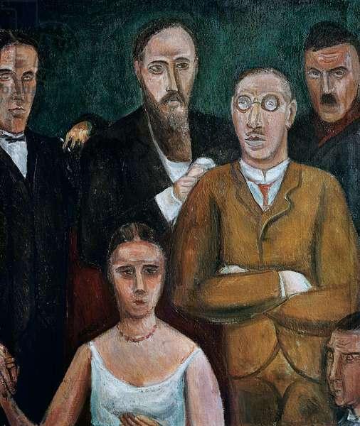 Tribute to Ludmilla Pitoeff (1895-1951), Russian actress, with Georges Pitoeff, Ernest Ansermet, Igor Stravinsky (wearing glasses), Charles-Ferdinand Ramuz, 1920